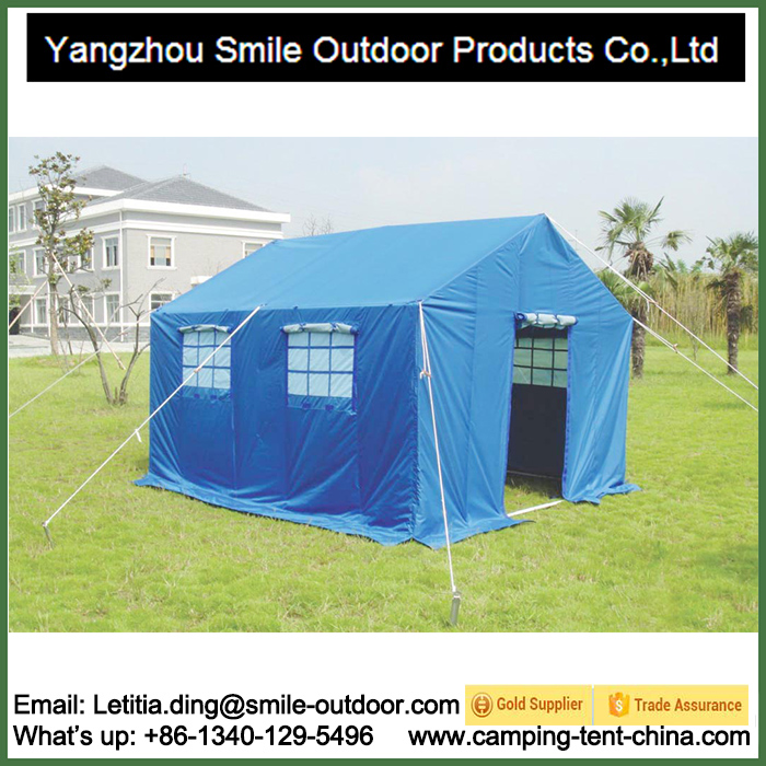T-827 6 Persons 3X4m Outdoor Blue Livable Disaster Relief Refugee Tent